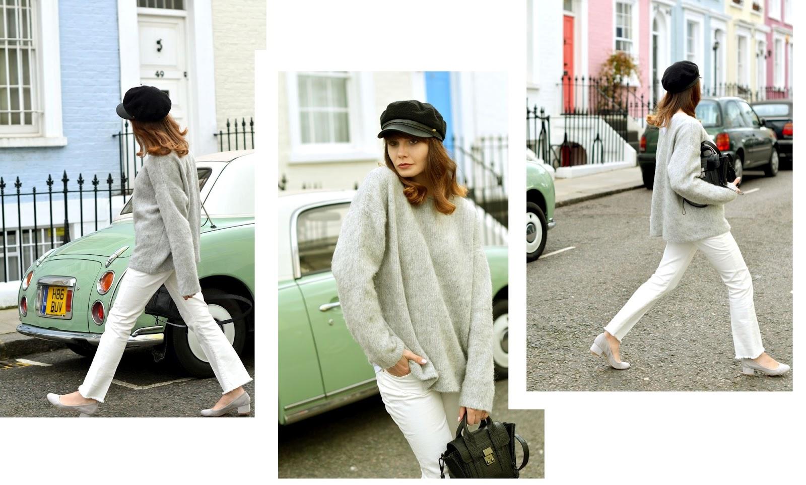 biale spodnie | szary sweter | kaszkiet | blog modowy z krakowa | blog o modzie | cammy
