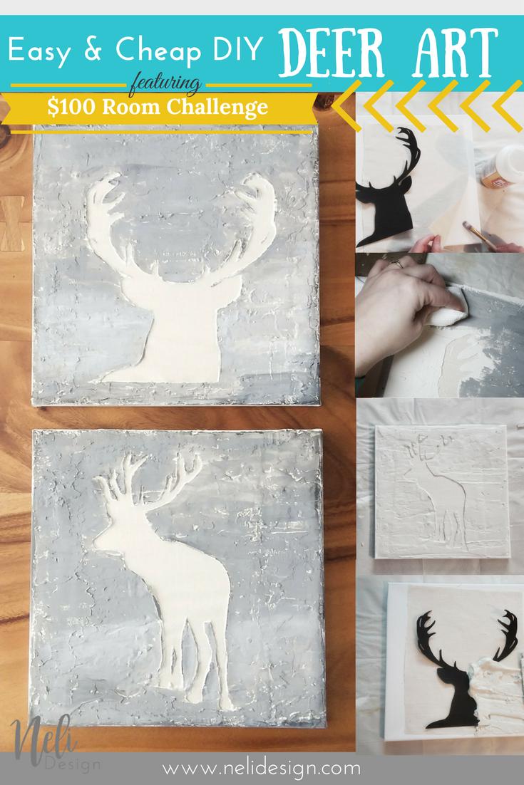 Step by Step Easy DIY Deer Art | Free Template | Cheap | Wall art | Home decor | $100 Room Challenge Deer Art