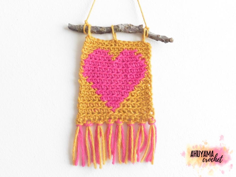CORAZÓN EN CROCHET TAPESTRY - Ahuyama Crochet
