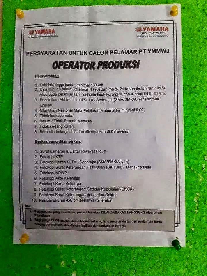 Lowongan Kerja PT YAMAHA MOTOR Manufacturing WJ Indonesia