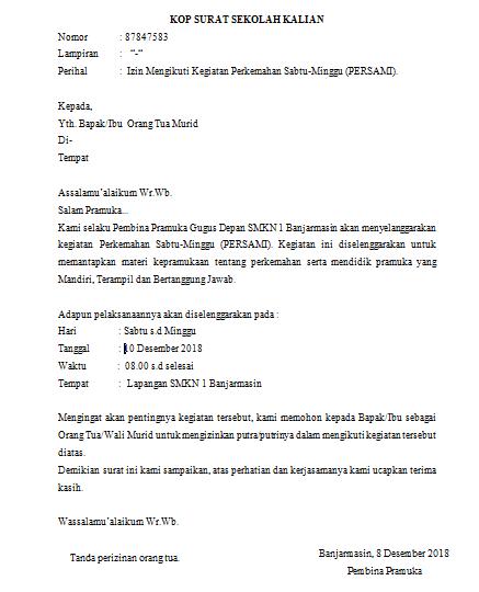 Download Contoh Surat Izin Kemah Untuk Orang Tua Pramuka Sampit