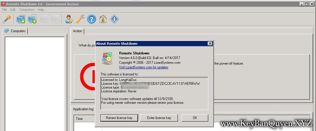 LizardSystems Remote Shutdown 4.6.0 Build 63 Full Key Download,Công cụ tắt máy, khởi động lại máy tính từ xa hoặc nhóm máy tính