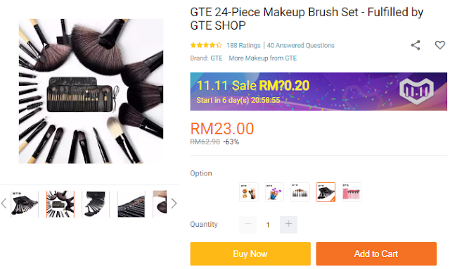 Lazada 11.11 Blogger Contest: The Biggest One Day Sale, 11.11 Shopping Festival, Lazada Sale, Lazada Malaysia, Makeup Brush Set,