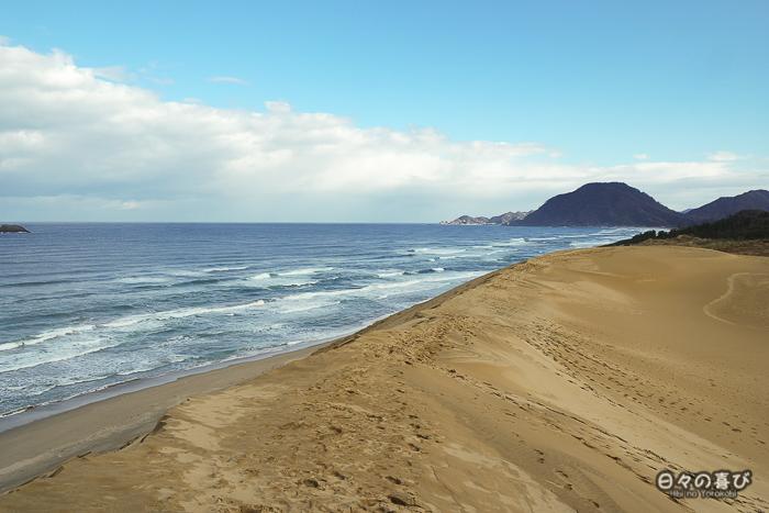 vue sur la mer depuis le sommet des dunes