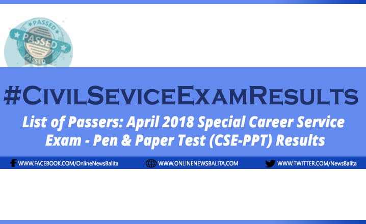 April 2018 Civil Service Exam Results CSE-PPT - Region 2