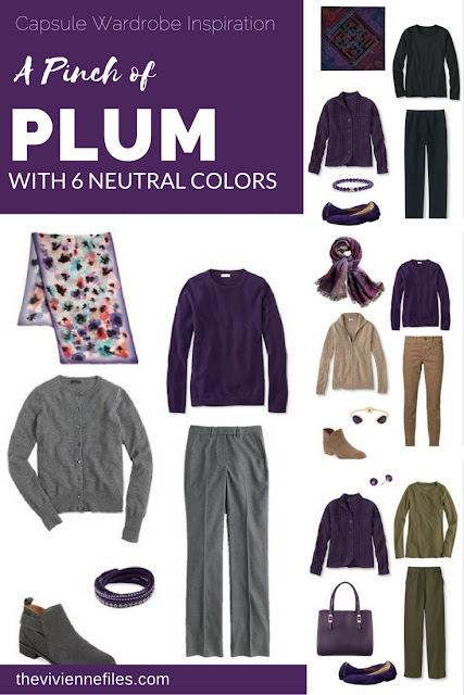Capsule wardrobe colour palette inspiration - a pinch of plum with 6 neutral colors