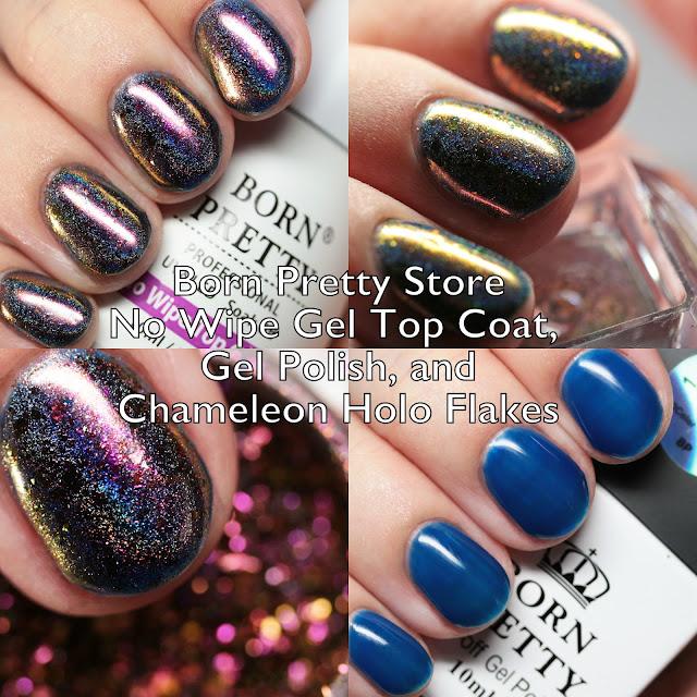 Born Pretty Store No Wipe Gel Top Coat, Gel Polish, and Chameleon Holo Flakes Powder