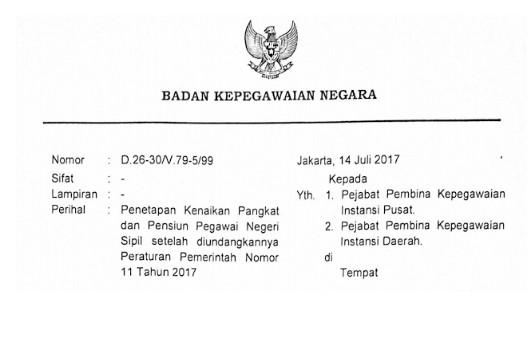Surat Edaran Kepala BKN No D-26-30/V/99