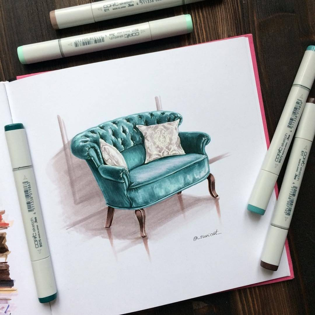 03-Comfortable-Chair-Ekaterina-Surikat-Interior-Design-Architecture-and-Travel-Journals-Drawings-www-designstack-co