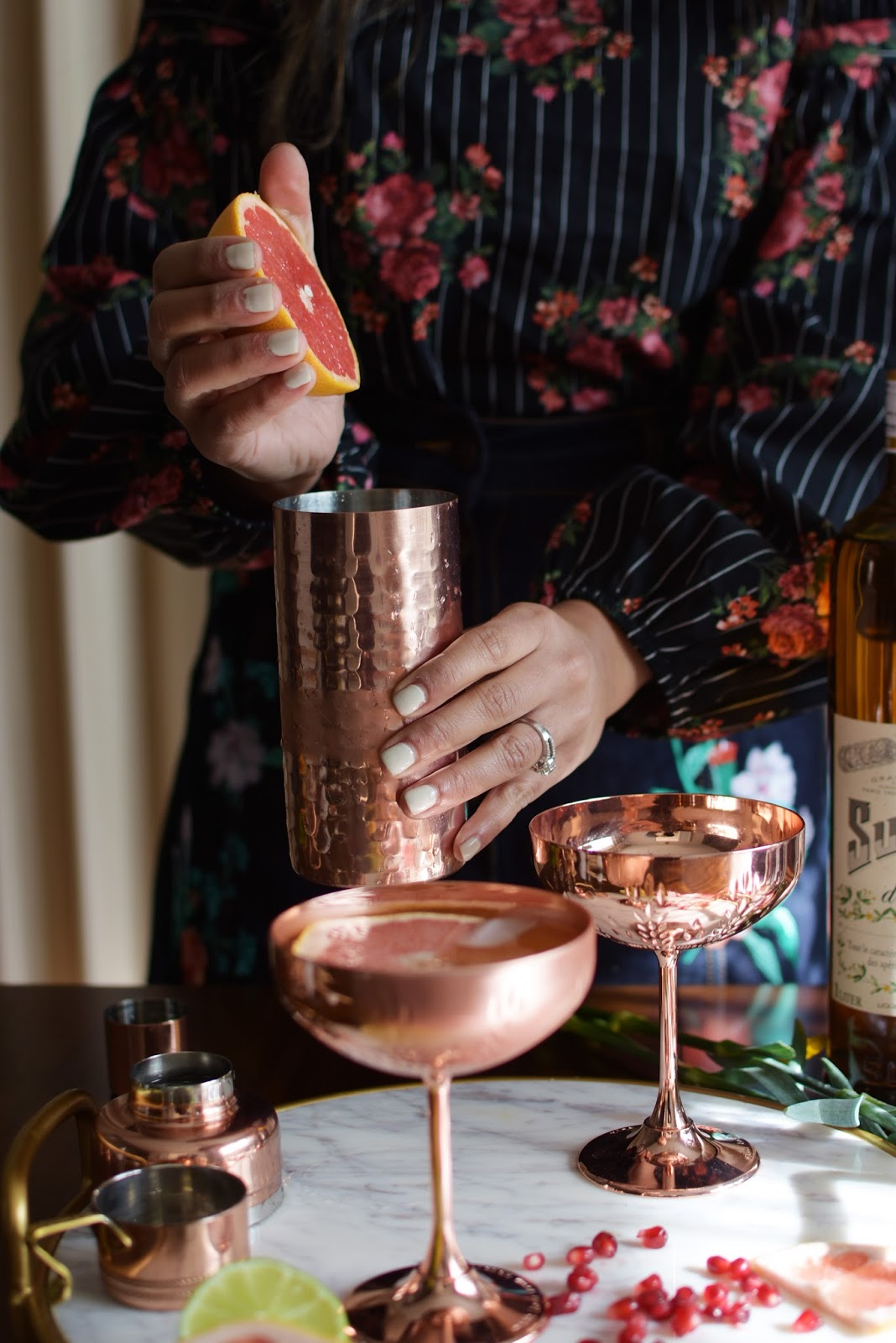 holiday cocktail, thanksgiving cocktail, absolut elyx, copper makes it better, copper vessel drink, fennel grapefruit vodka drink, entertaining, hostess drink, myriad musings, drink, cocktails
