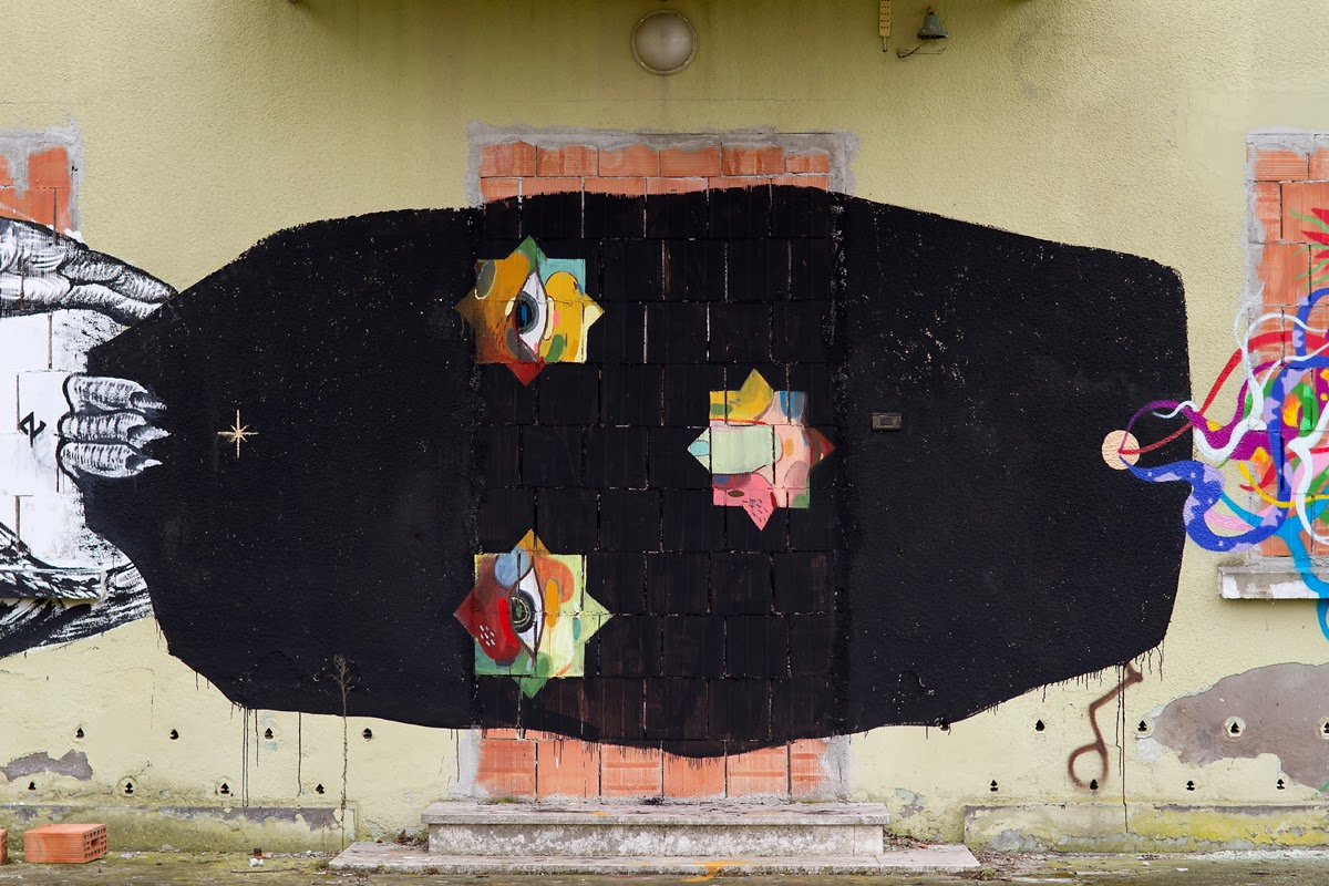 Street Art Collaboration By Basik, Zamoc, Gola somewhere on the suburbs of Rimini in Italy. 2