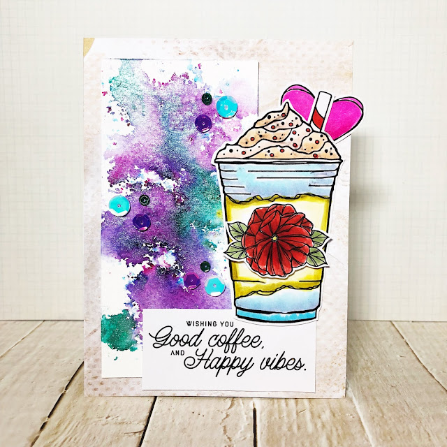 ScrappyScrappy - Flowers & Coffee with Unity Stamp #scrappyscrappy #unitystampco #quicktipvideo #youtube #card #cardmaking #stamp #stamping  #colorburst #watercolor #floral #sequins #gracielliedesign #copicmarkers #thermoweb #purpletape #nuvoshimmerpowder #tonicstudios #galaxysky #coffeelovingpapercrafters
