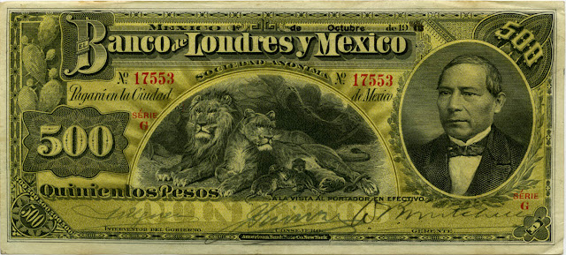 Mexican currency 500 peso bill banknote