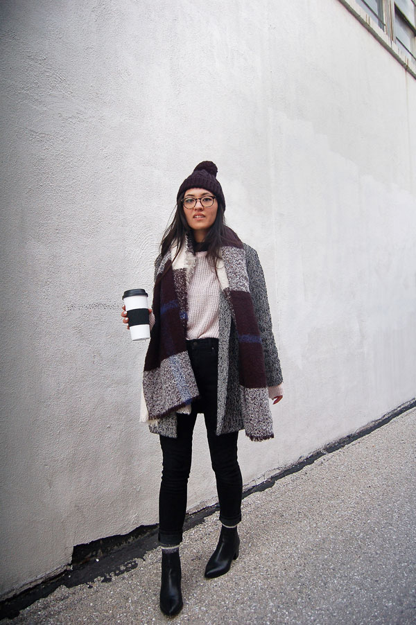 Blanket Scarf Black Jeans Boots
