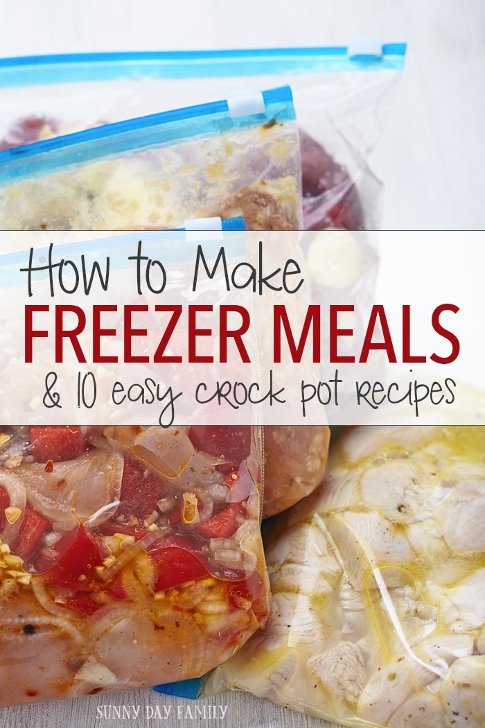 Have you tried freezer meals? It's the BEST way to make dinner for your family. Make a few weeks' worth of dinners in just a couple of hours. Get the basics plus my 10 favorite crock pot freezer recipes. Make this meal plan in about 2 hours and don't cook again for weeks!