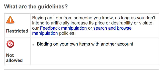 eBay Sellers know shill bidding is forbidden