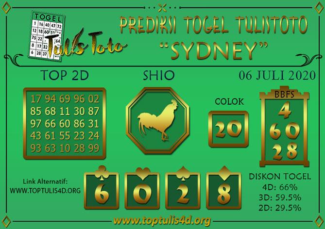 Prediksi Togel SYDNEY TULISTOTO 06 JULI 2020