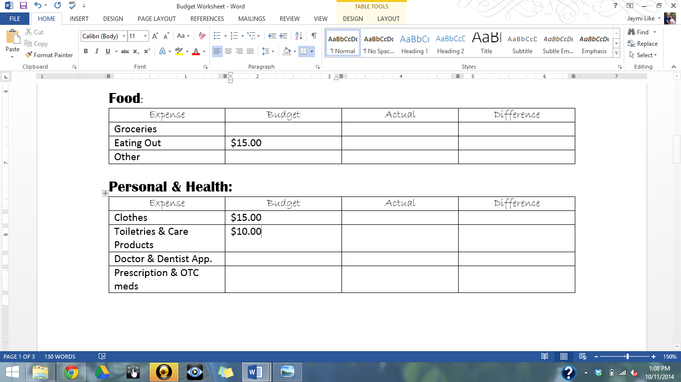 High School Student Budget Worksheet