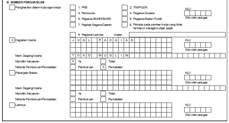 Cara Mengisi Formulir Npwp Pribadi Disertai Contoh Formulir Yang