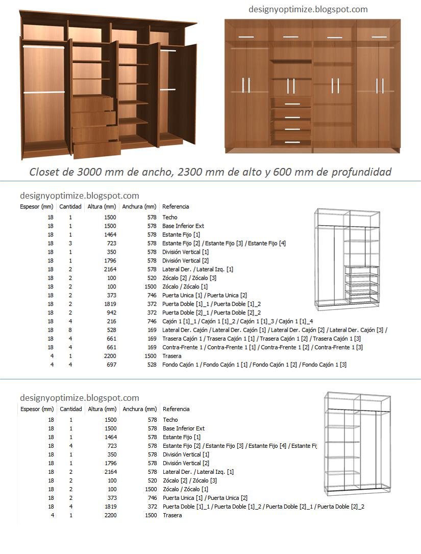 Dise o de muebles madera fabricando closet 3 metros de for Medidas de muebles en planta