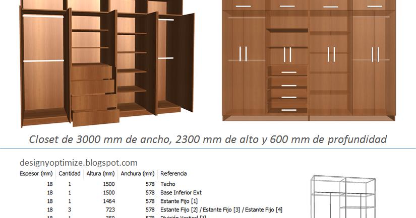 Dise o de muebles madera fabricando closet 3 metros de for Muebles de cocina 3 metros