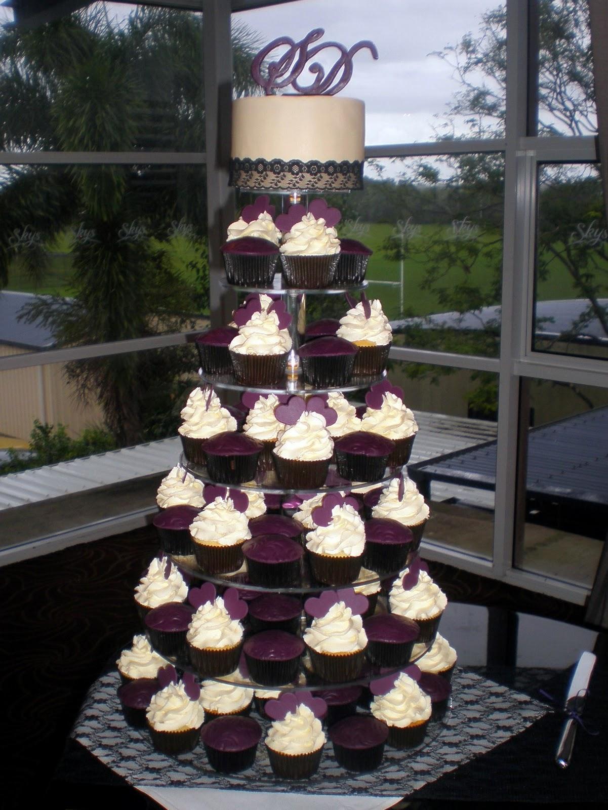 Sugar Siren Cakes Mackay Purple Hearts Lace Wedding Cupcake Tower