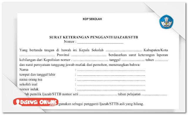 Surat Administrasi Pengganti Ijazah/STTB Yang Rusak Atau Hilang
