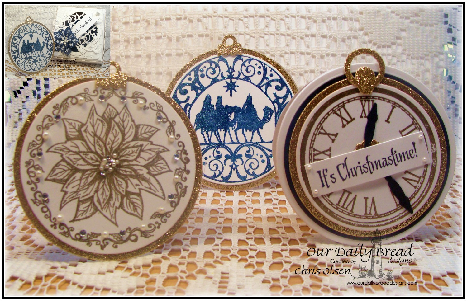 Stamps - Our Daily Bread Designs Poinsettia Ornament, God's Timing, Wisemen Ornament, ODBD Custom Circle Ornaments Dies, ODBD Custom Matting Circles Dies, ODBD Custom Peaceful Poinsettias Dies, ODBD Custom Quatrefoil Pattern Die, ODBD Custom Pennants Dies