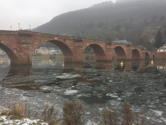 Ice on Neckar River near Heidelberg's Old Bridge