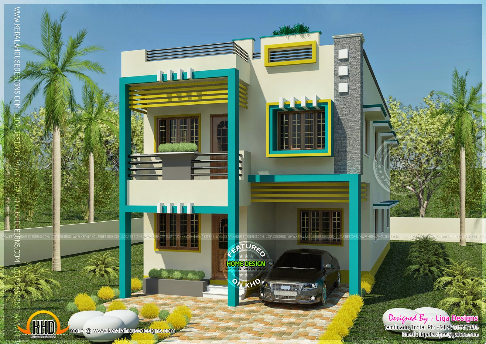 Flat roof tamilnadu house in 1955 square feet kerala for Indian house portico models