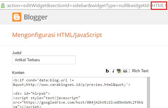 Menampilkan Widget Sidebar Hanya Di Homepage Saja