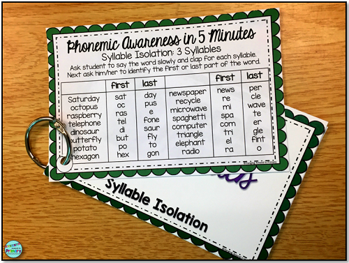 phonemic awareness in 5 minutes with 122 word lists to teach phonemic awareness skills.