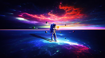 Astronaut, Solar System, Sun, Planets, Digital Art, 4K, #6.1258