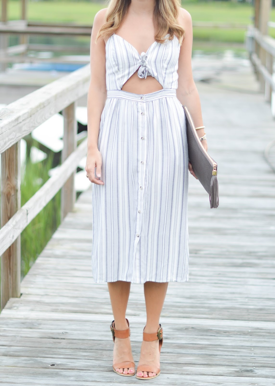 striped midi cutout dress / 4th of July style / Southern Style