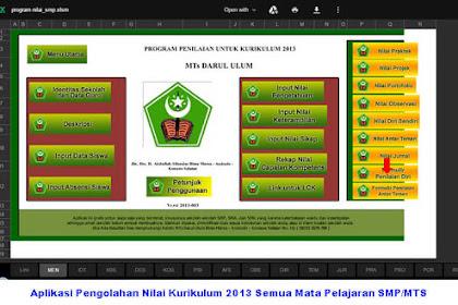 Aplikasi Pengolahan Nilai Kurikulum 2013 Semua Mata Pelajaran SMP/MTS
