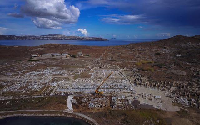 Stoa of Philip V restoration under way on Delos