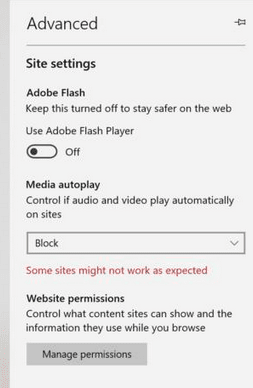 Edge stop autoplay videos