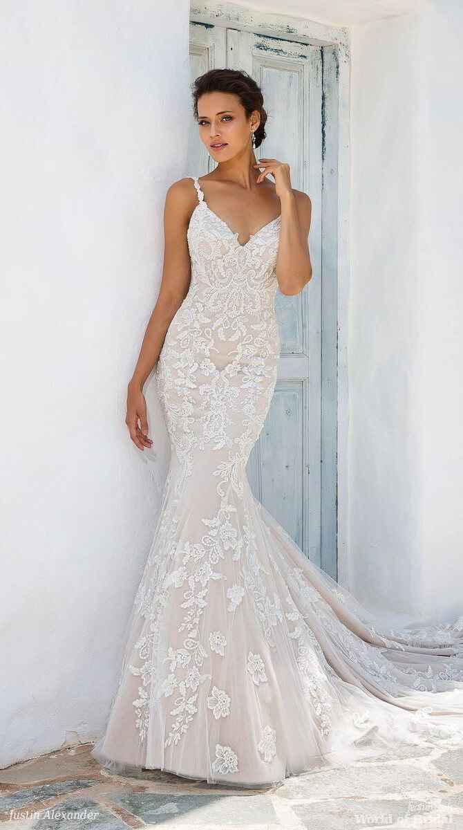 Justin Alexander Spring 2018 Fit and Flare Gown with Beaded Lace Appliques and Keyhole Back