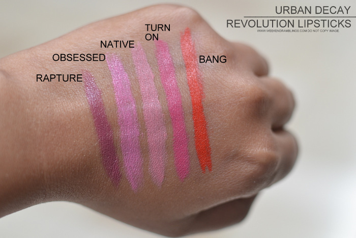 Urban Decay Revolution Lipsticks Indian Darker Skin Makeup Beauty Blog Swatches Rapture Obsessed Turn On Native Bang