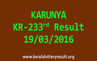 KARUNYA KR 233 Lottery Result 19-3-2016