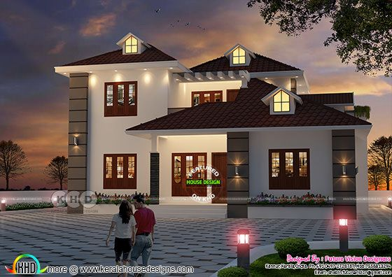 2185 sq-ft two storied gabled roof  home at Kannur