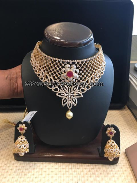 Diamond Choker Large Jhumkas