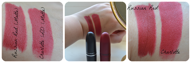 MAC Cosmetics Giambattista Valli Charlotte Matte Vergleich VS Russian Red Lipstick Lippenstift Swatch