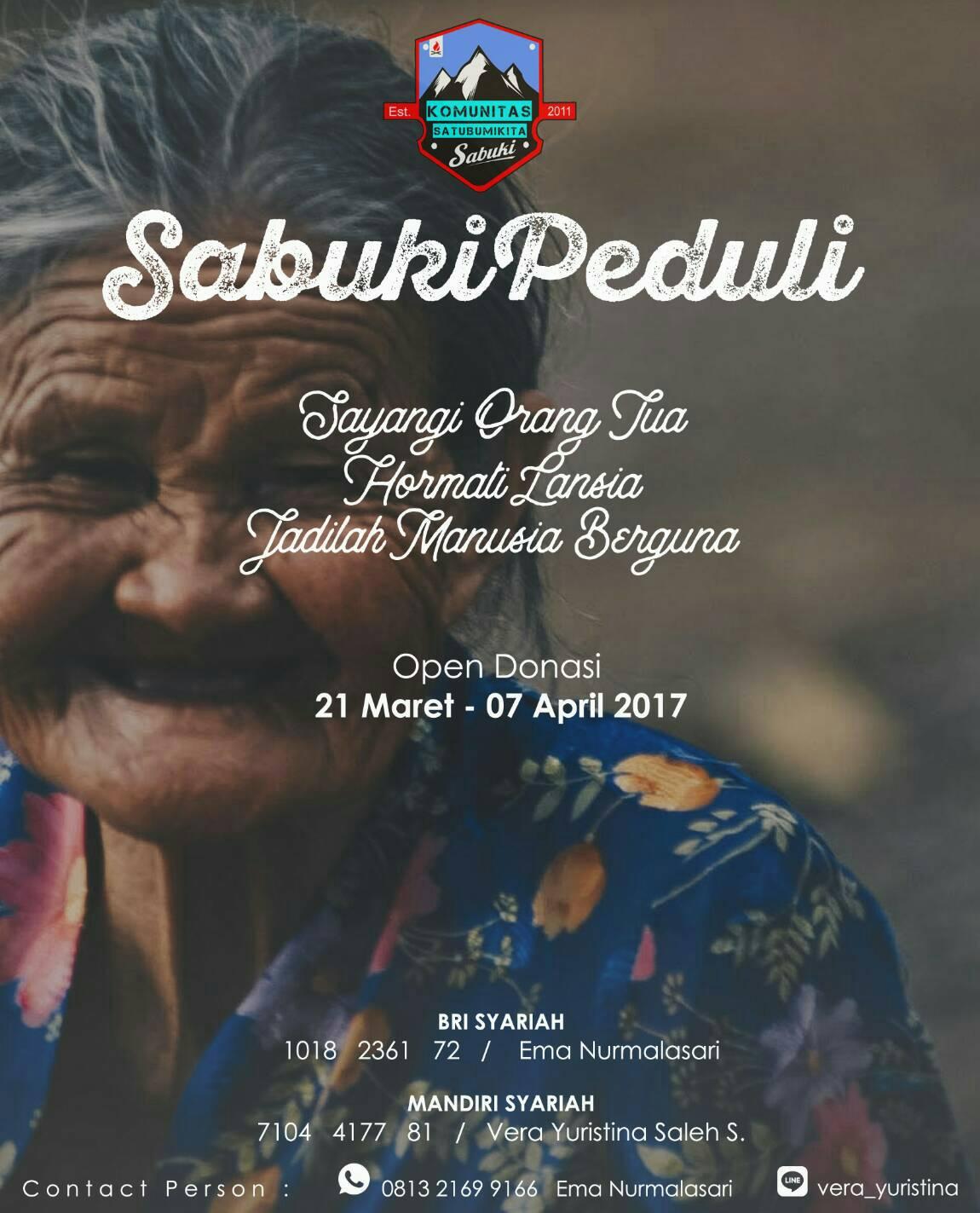 Sabuki Peduli Lansia, Open Donasi, 21 Maret-07 April 2017