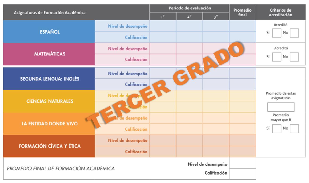 Reporte de evaluación 2018 - 2019 de tercer grado de primaria