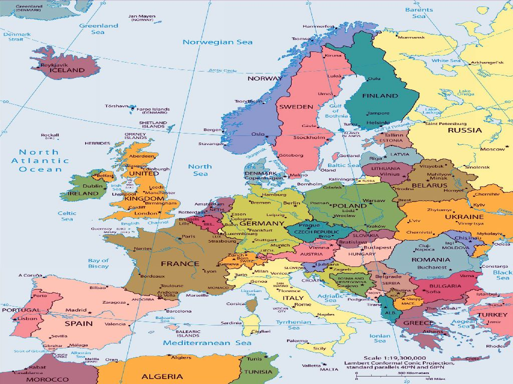 europe political map printable