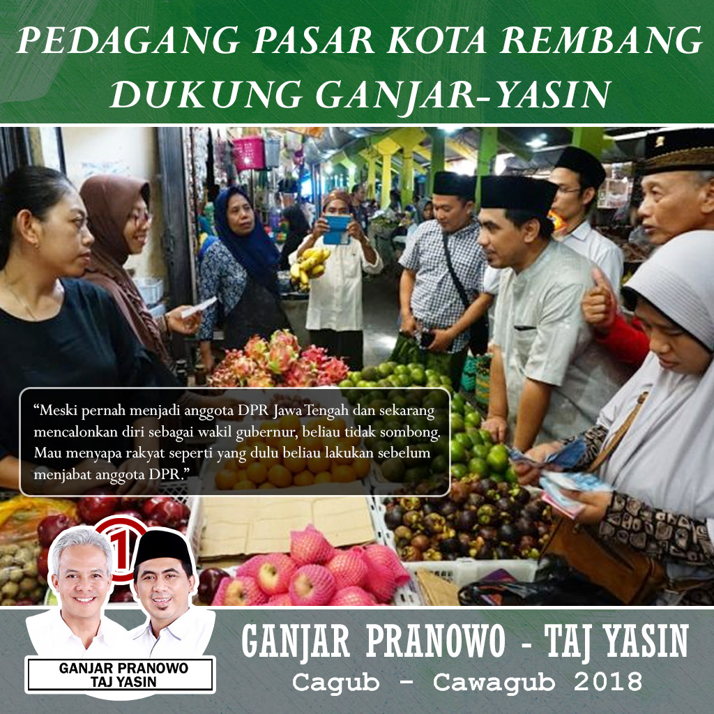 Para Pedagang Pasar Rembang Dukung Taj Yasin