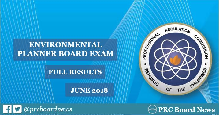 OFFICIAL RESULTS: June 2018 Environmental Planner board exam list of passers, top 10