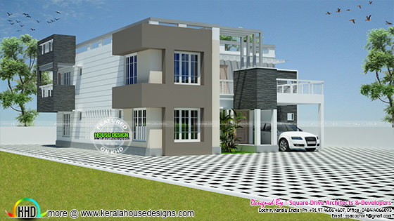 Flat roof contemporary mix