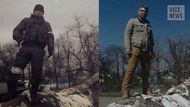 O soldado russo em Debaltseve, fevereiro 2015, e o jornalista no mesmo local, poucos meses depois.